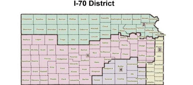 Kansas Redistricting Proposal - I-70 District by Anthony Brown